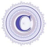 Ornamentos geométricos del vector Rosetones del guilloquis con la letra C Foto de archivo libre de regalías
