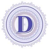 Ornamentos geométricos del vector Rosetones del guilloquis con la letra D Fotos de archivo