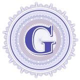 Ornamentos geométricos del vector Rosetones del guilloquis con la letra G Fotos de archivo