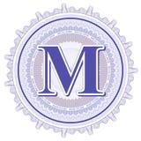 Ornamentos geométricos del vector Rosetones del guilloquis con la letra M Fotografía de archivo