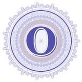 Ornamentos geométricos del vector Rosetones del guilloquis con la letra O Fotografía de archivo libre de regalías