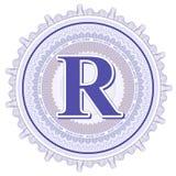 Ornamentos geométricos del vector Rosetones del guilloquis con la letra R Imagenes de archivo