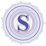 Ornamentos geométricos del vector Rosetones del guilloquis con la letra S Foto de archivo