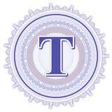 Ornamentos geométricos del vector Rosetones del guilloquis con la letra T Foto de archivo libre de regalías