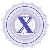 Ornamentos geométricos del vector Rosetones del guilloquis con la letra X Imagenes de archivo