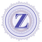 Ornamentos geométricos del vector Rosetones del guilloquis con la letra Z Imagen de archivo libre de regalías