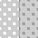 Ornamentos geométricos grises y blancos Conjunto de modelos inconsútiles Imágenes de archivo libres de regalías