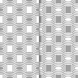 Ornamentos geométricos grises y blancos Conjunto de modelos inconsútiles Imagen de archivo libre de regalías
