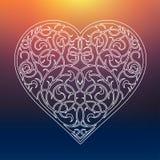 Ornamentos hermosos del corazón de la tarjeta del día de San Valentín de las flores Fotografía de archivo