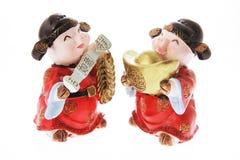 Ornamentos miniatura del cerdo Fotografía de archivo