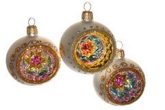 Ornamentos pintados a mano de la Navidad Foto de archivo libre de regalías