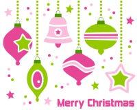 Ornamentos retros de la Navidad Fotos de archivo libres de regalías