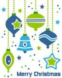 Ornamentos retros de la Navidad imágenes de archivo libres de regalías
