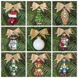 Ornamentos retros del árbol de navidad Fotos de archivo