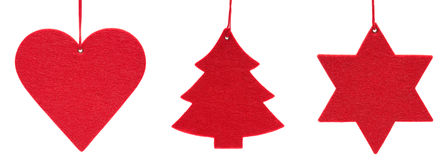Ornamentos rojos de la Navidad en blanco Imagen de archivo