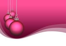Ornamentos rosados de la Navidad del satén Imágenes de archivo libres de regalías