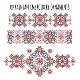 Ornamentos ucranianos del bordado fijados Imágenes de archivo libres de regalías