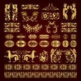 Ornamentos y elementos caligráficos decorativos de oro - sistema del vector Fotografía de archivo libre de regalías