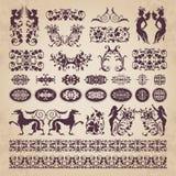 Ornamentos y elementos caligráficos decorativos - sistema del vector Imagenes de archivo