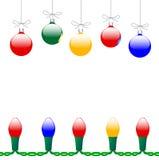 Ornamentos y luces de la Navidad