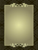 Ornamentrahmen auf Damastmuster-Hintergrundkarte Stockfotos