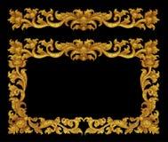 Ornamentrahmen der Gold überzogenen Weinlese mit Blumen Stockbild