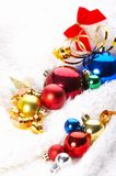 Ornaments in billowy feathers. New year Stock Photo