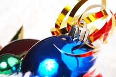 Ornaments in billowy feathers. New year Royalty Free Stock Image