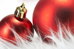 Ornaments in billowy feathers. New year Royalty Free Stock Photos