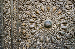 Ornaments of the bronze-plate door of an old mosque, Old Cairo, royalty free stock images