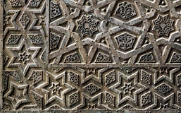 Ornaments of the bronze-plate door of an old mosque Royalty Free Stock Photos