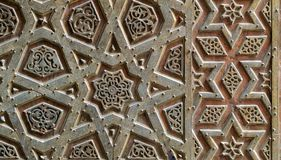 Ornaments of the bronze-plate door of Sultan Qalawun mosque, Old Cairo, Egypt stock images