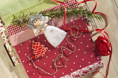 Ornaments Christmas decoration. Christmas, ornaments and fabrics for decoration Royalty Free Stock Photography