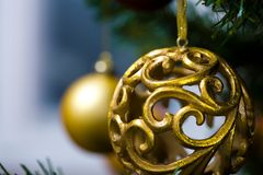 Ornaments on Christmas tree Stock Photos