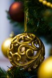 Ornaments on Christmas tree Stock Photo