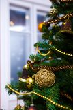 Ornaments on Christmas tree Royalty Free Stock Image