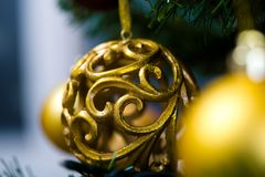 Ornaments on Christmas tree Royalty Free Stock Photography