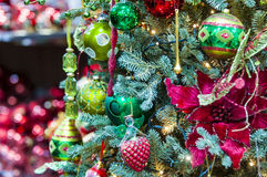 Ornaments on christmas tree. Few balls on christmas tree Royalty Free Stock Photos