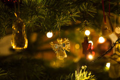 Ornaments on a Christmas tree twigs Royalty Free Stock Photo