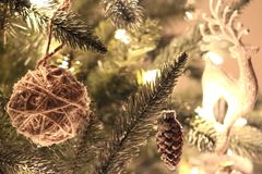 Ornaments on a christmas tree royalty free stock images