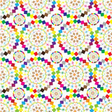 The ornaments of colored patterned circles. The pattern for the background, made up of brightly colored circles of different sizes Stock Photos