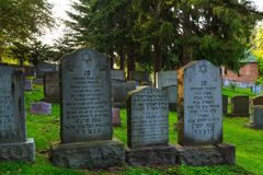 August 2017, Troy NY USA: Jewish cemetery scenes in Troy NY on a summer day Royalty Free Stock Photos