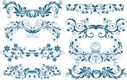 Ornaments, design elements. Set of eight ornaments, design elements Stock Images