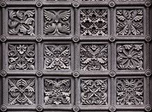 Ornaments on door of historic church building Royalty Free Stock Image
