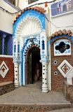Entrance with ornaments in historic Chefchaouen. Ornaments at the door on a street in Chefchaouen Royalty Free Stock Images