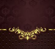 Ornaments elements floral retro corners frames borders stickers art deco design illustrationVintage background with golden lace or. Vintage background with royalty free illustration