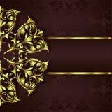 Ornaments elements floral retro corners frames borders stickers art deco design illustrationVintage background with golden lace or. Vintage background with stock illustration