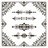 Ornaments elements floral retro corners frames borders stickers art deco design stock illustration