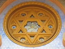 Ornaments on an Entrance to Jewish Jerusalem Synagogue, Prague, Czech Republic, June 2018 stock photos