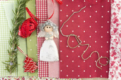 Ornaments and fabrics Christmas background Stock Photo